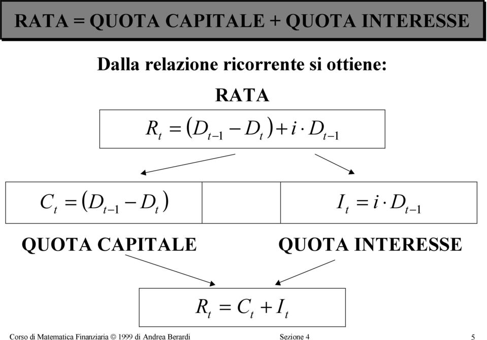 QUOTA CAPITALE QUOTA INTEESSE C I Corso
