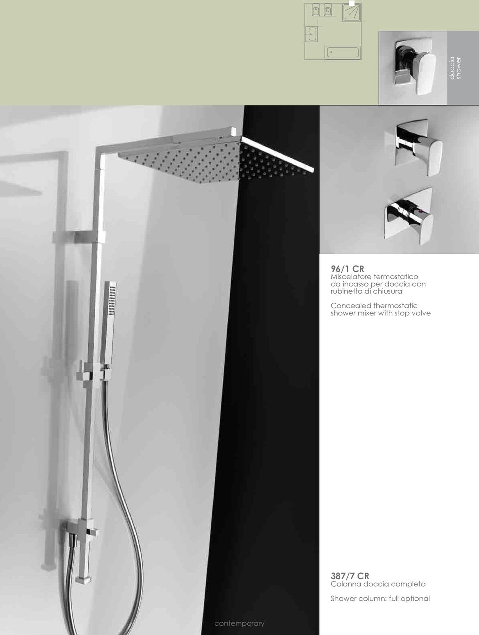 Concealed thermostatic shower mixer with stop valve