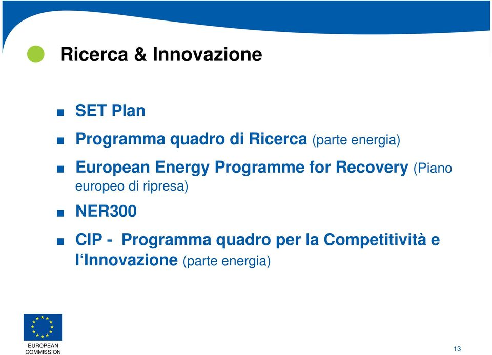 european Energy Programme for Recovery (Piano europeo di