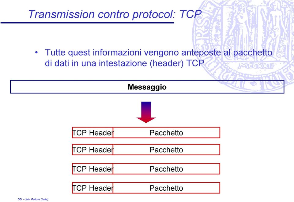 una intestazione (header) TCP Messaggio TCP Header TCP