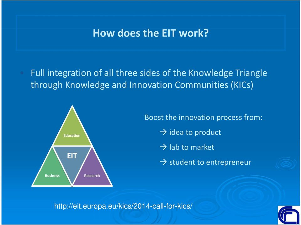 through Knowledge and Innovation Communities (KICs) Boost the