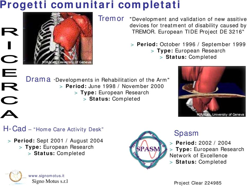 "Rehabilitation of the Arm"" > Period: June 1998 / November 2000 > Type: European Research > Status: Completed H-Cad Home Care Activity Desk > Period:"
