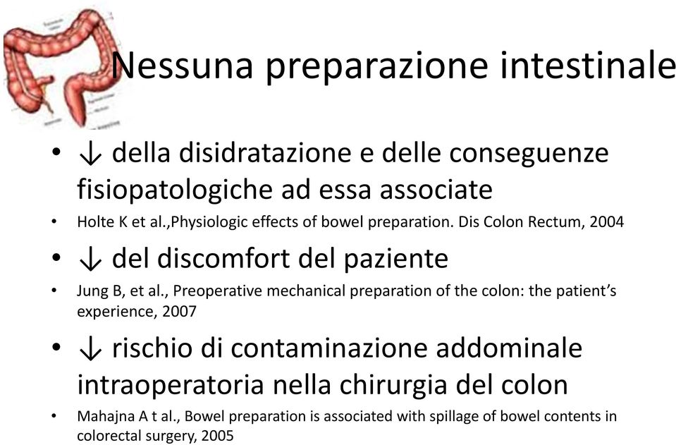 , Preoperative mechanical preparation of the colon: the patient s experience, 2007 rischio di contaminazione addominale