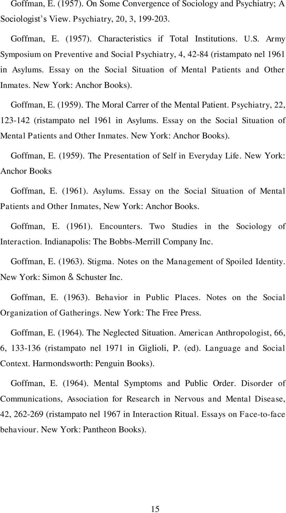 Psychiatry, 22, 123-142 (ristampato nel 1961 in Asylums. Essay on the Social Situation of Mental Patients and Other Inmates. New York: Anchor Books). Goffman, E. (1959).