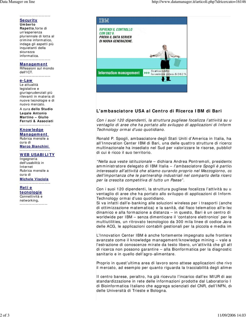 --------------------- Management Riflessioni sul mondo dell'ict.
