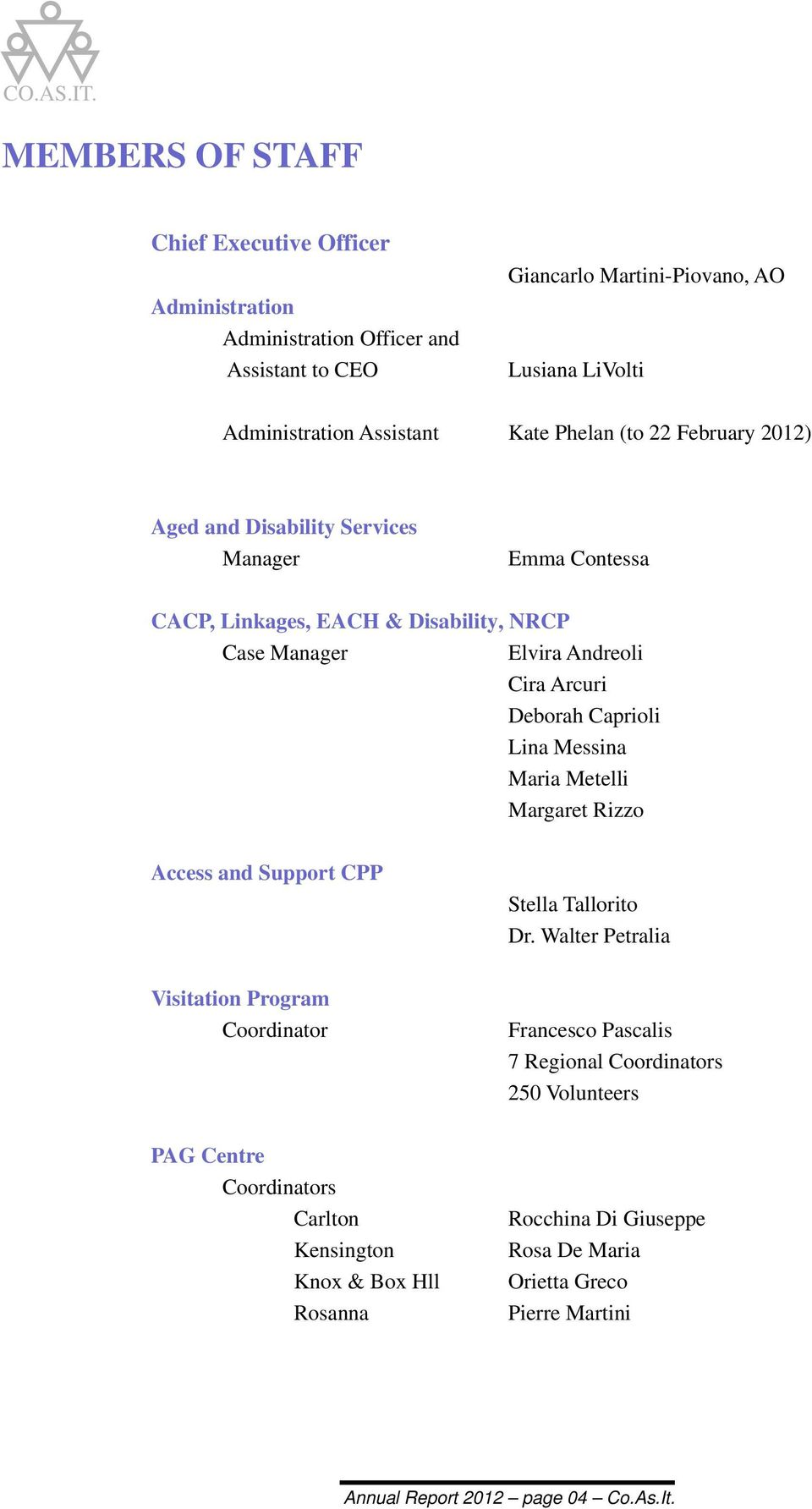 Lina Messina Maria Metelli Margaret Rizzo Access and Support CPP Stella Tallorito Dr.