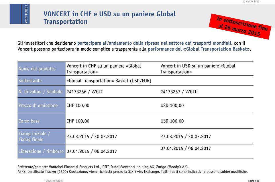 Nome del prodotto Sottostante Voncert in CHF su un paniere «Global Transportation» «Global Transportation» Basket (USD/EUR) Voncert in USD su un paniere «Global Transportation» N.