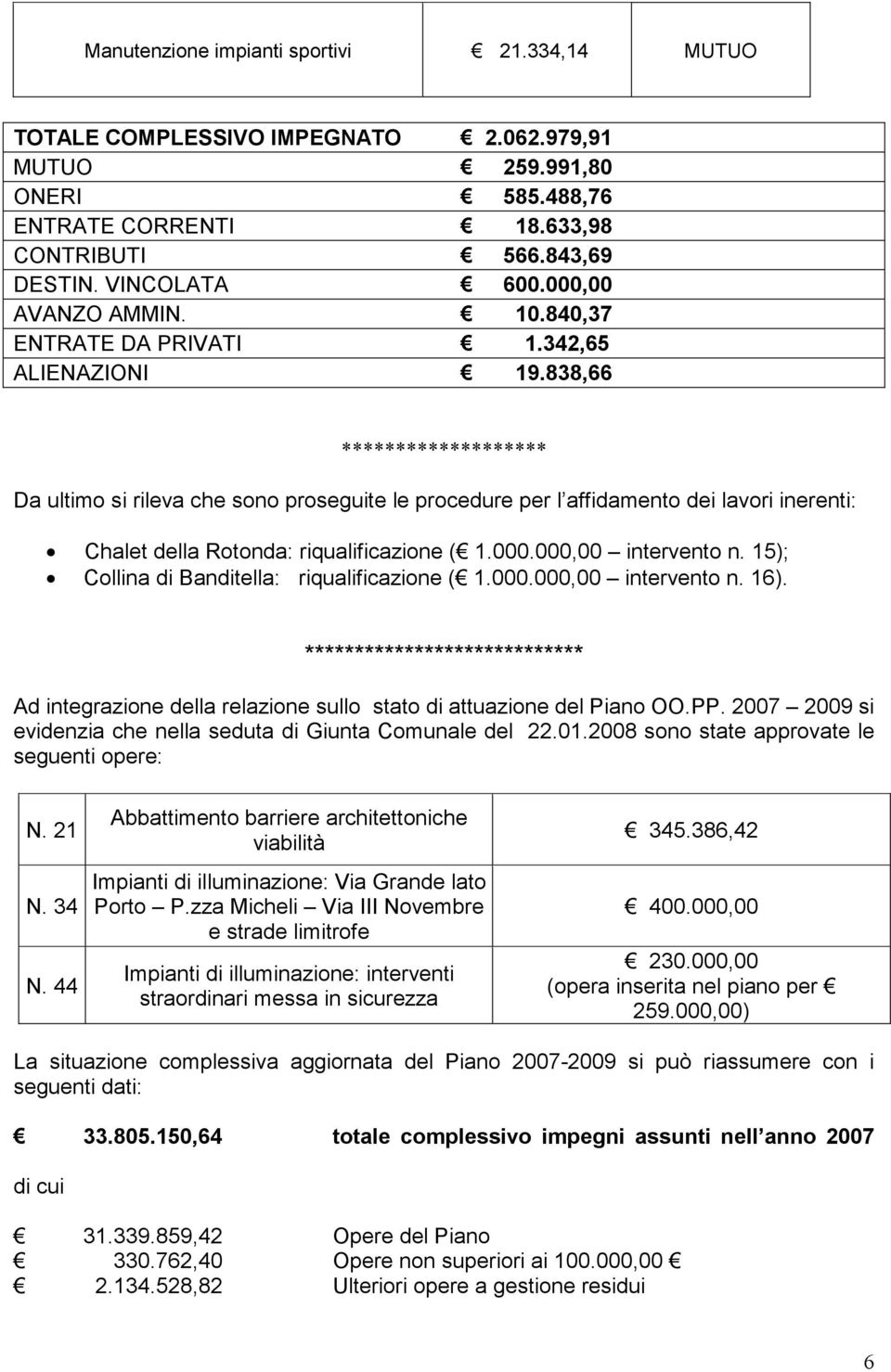 000.000,00 intervento n. 15); Collina di Banditella: riqualificazione ( 1.000.000,00 intervento n. 16).