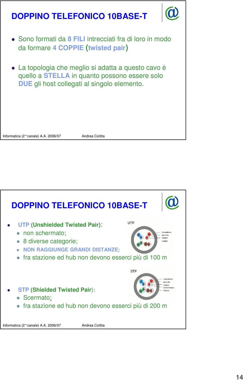DOPPINO TELEFONICO 10BASE-T UTP (Unshielded Twisted Pair): non schermato; 8 diverse categorie; NON RAGGIUNGE GRANDI DISTANZE; fra