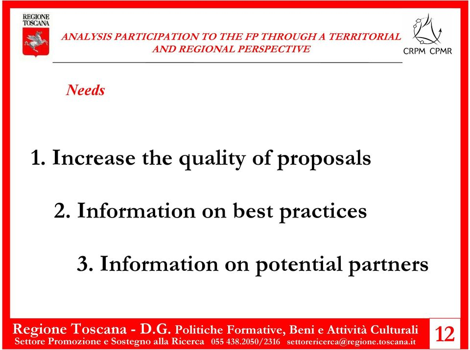 Information on potential partners Settore Promozione