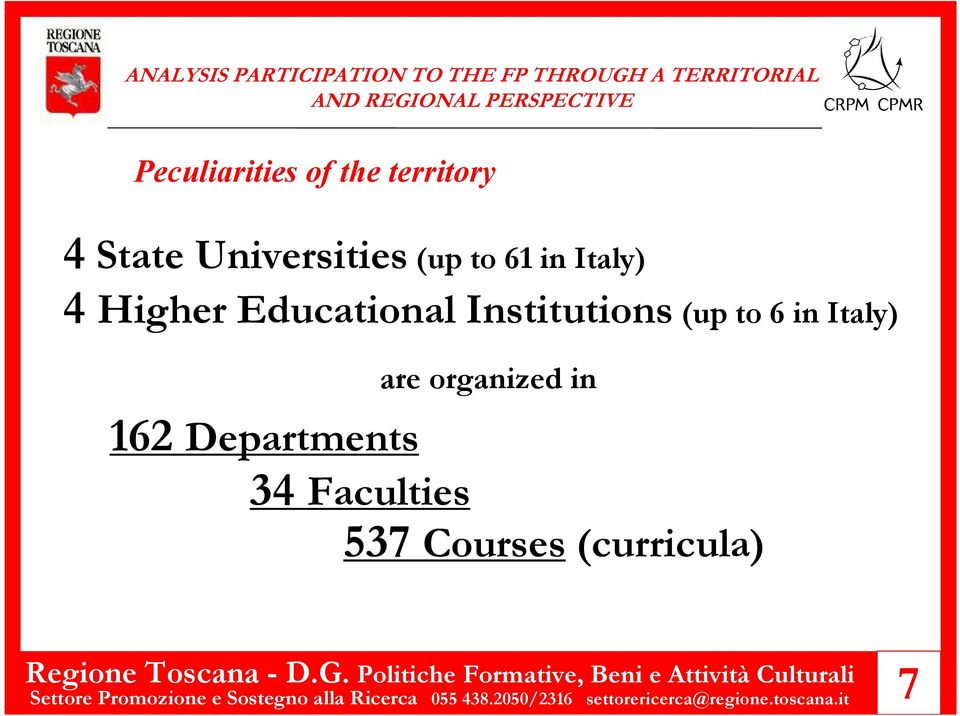 162 Departments 34 Faculties ( curricula ) 537 Courses Settore Promozione