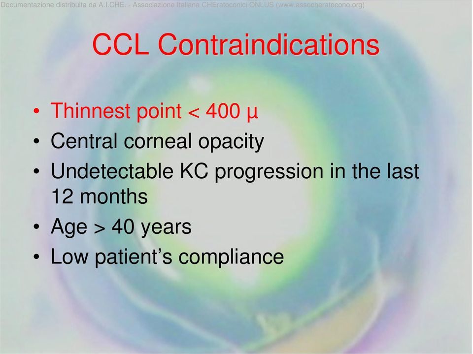 Undetectable KC progression in the last