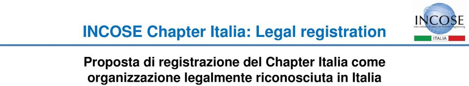 registrazione del Chapter Italia