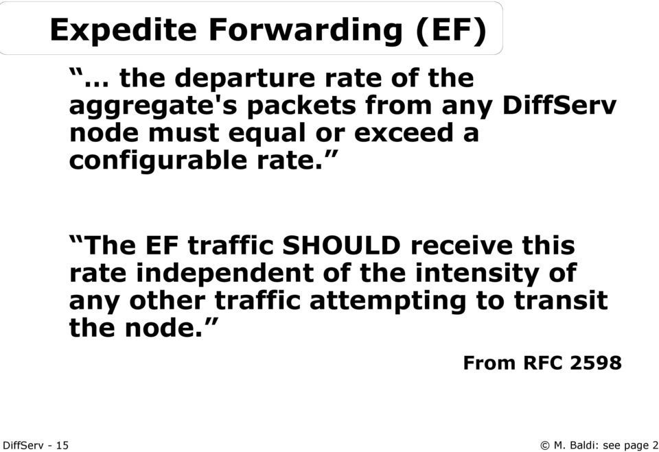 The EF traffic SHOULD receive this rate independent of the intensity of