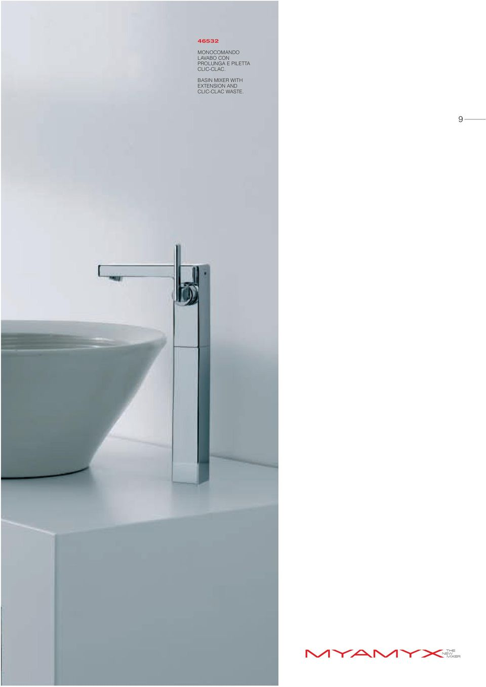 BASIN MIXER WITH EXTENSION AND
