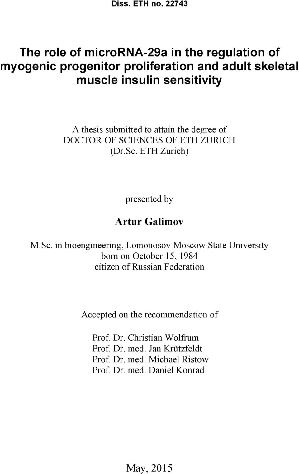 thesis submitted to attain the degree of DOCTOR OF SCIENCES OF ETH ZURICH (Dr.Sc.