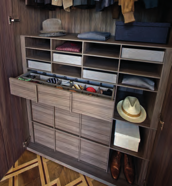 armadi / Wardrobes Alveare + cassettiera sospesa con vassoi Hive + hanging chest of drawers with trays Alveare porta borse Hive used as bag-holder Cassetto porta pantaloni e gonne Drawer used as
