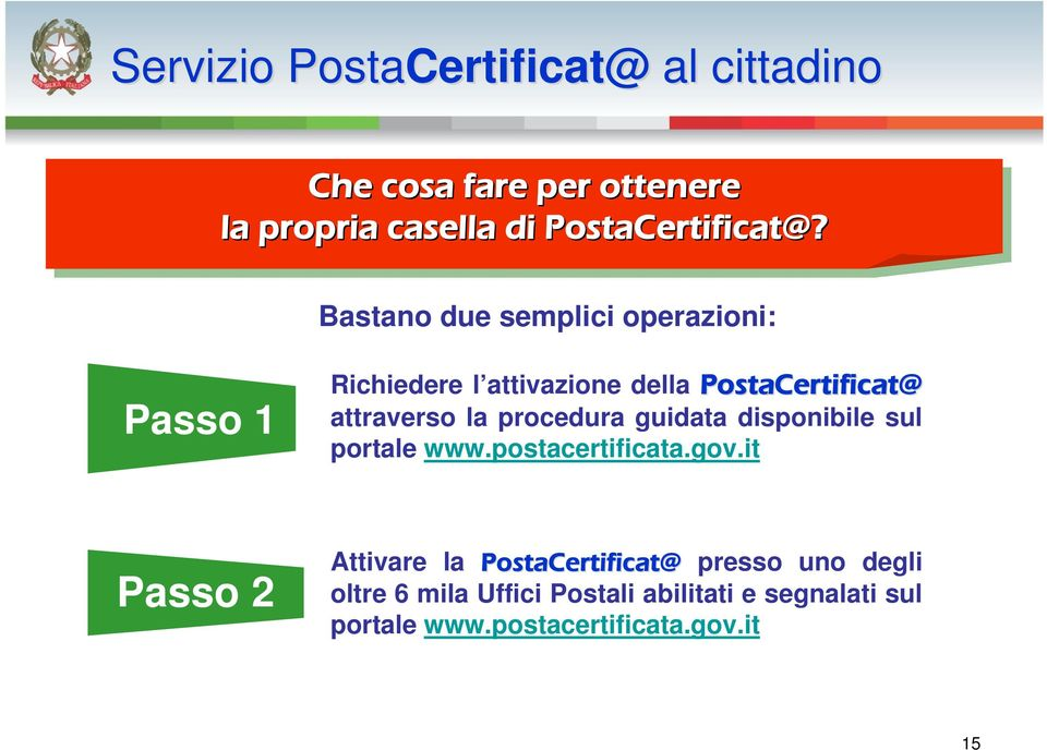 attraverso la procedura guidata disponibile sul portale www.postacertificata.gov.