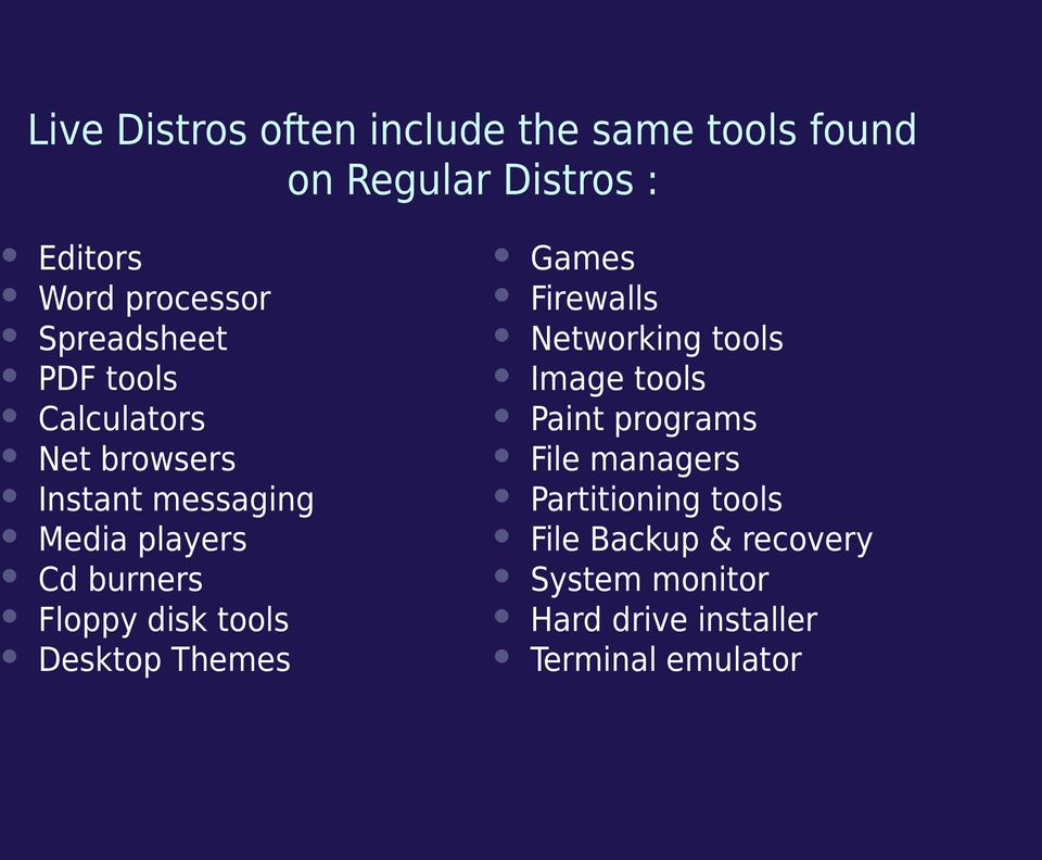 Floppy disk tools Desktop Themes Games Firewalls Networking tools Image tools Paint programs