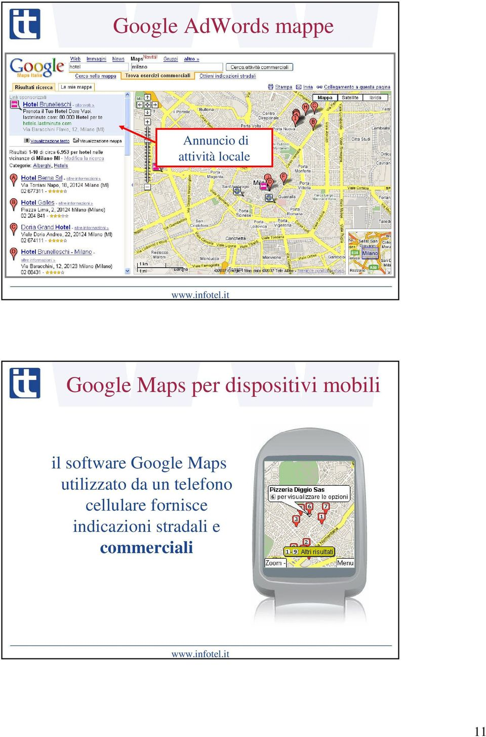 software Google Maps utilizzato da un telefono