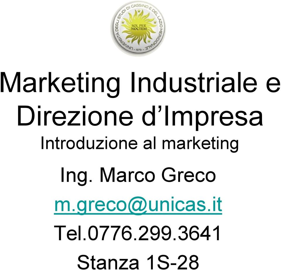 marketing Ing. Marco Greco m.