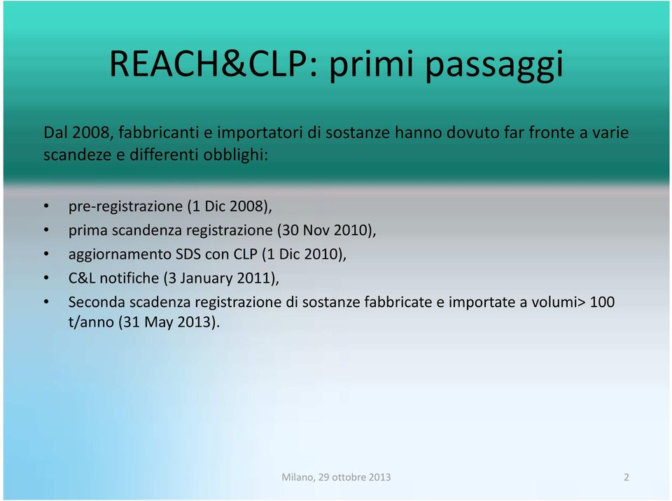 Nov 2010), aggiornamento SDS con CLP (1 Dic 2010), C&L notifiche(3 January 2011),