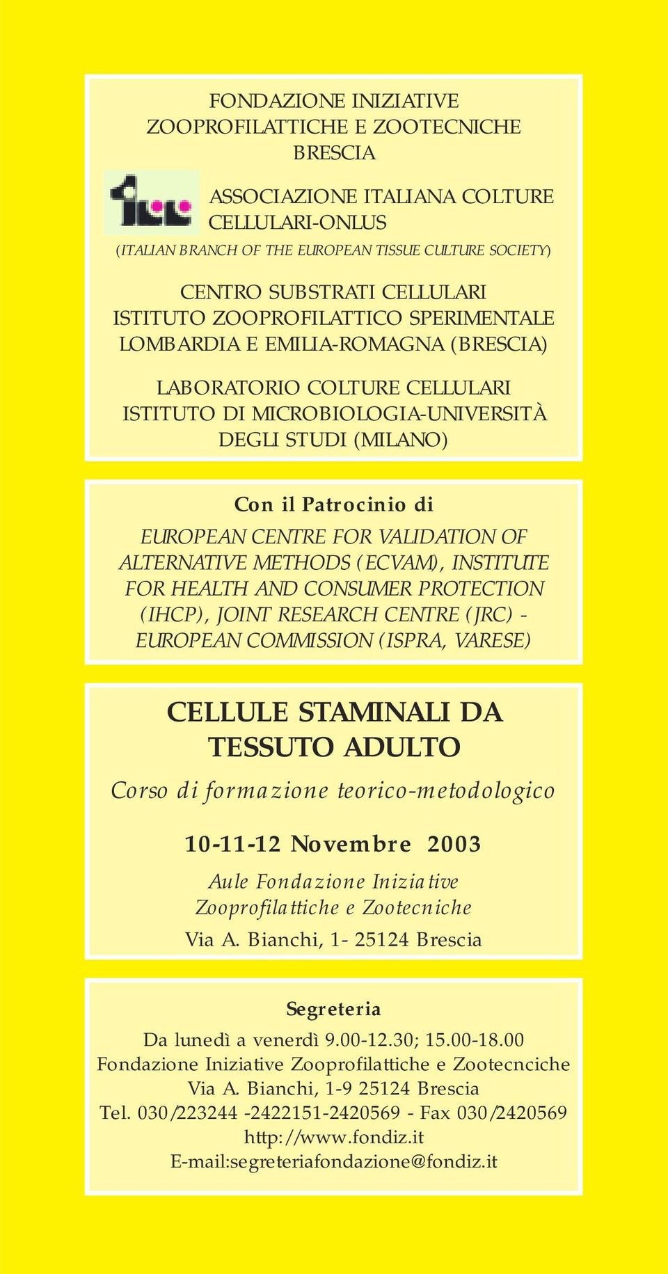 VALIDATION OF ALTERNATIVE METHODS (ECVAM), INSTITUTE FOR HEALTH AND CONSUMER PROTECTION (IHCP), JOINT RESEARCH CENTRE (JRC) - EUROPEAN COMMISSION (ISPRA, VARESE) CELLULE STAMINALI DA TESSUTO ADULTO