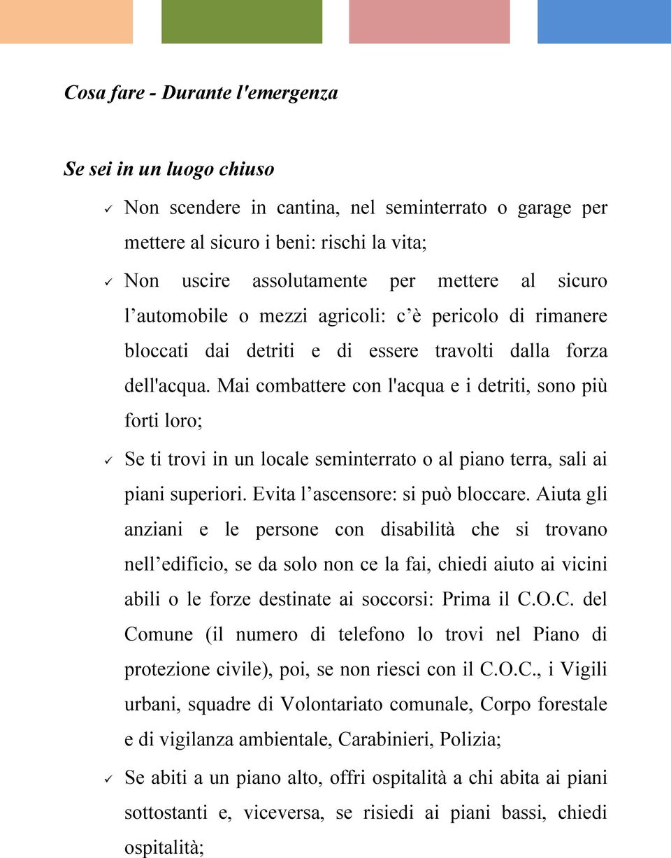 Come comportarsi in caso di alluvione pdf for Fai da solo i piani del garage