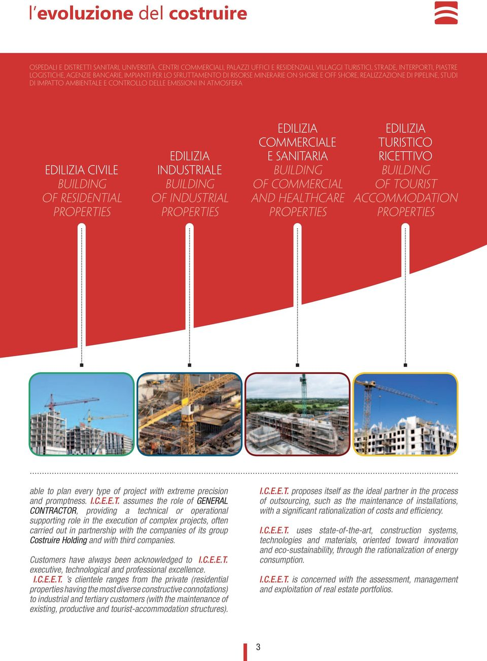RESIDENTIAL PROPERTIES EDILIZIA INDUSTRIALE BUILDING OF INDUSTRIAL PROPERTIES EDILIZIA COMMERCIALE E SANITARIA BUILDING OF COMMERCIAL AND HEALTHCARE PROPERTIES EDILIZIA TURISTICO RICETTIVO BUILDING