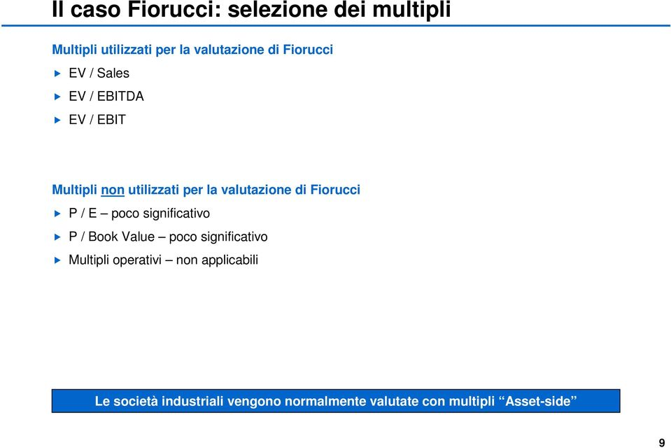 Fiorucci P / E poco significativo P / Book Value poco significativo Multipli operativi