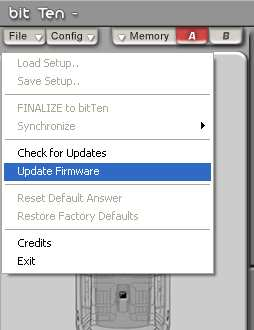 10. Fare clic sul comando Update Firmware nel menu File. 11.