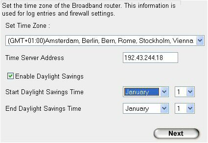 . Time Zone Procedura guidata per l'installazione del router:. Impostare il fuso orario (GMT + 0.00). Spuntare l'opzione Enable Daylight Savings (Passa automaticamente all'ora legale).