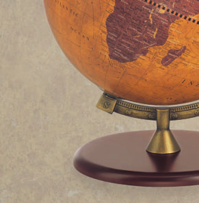 Rotating desk globe on wooden stand