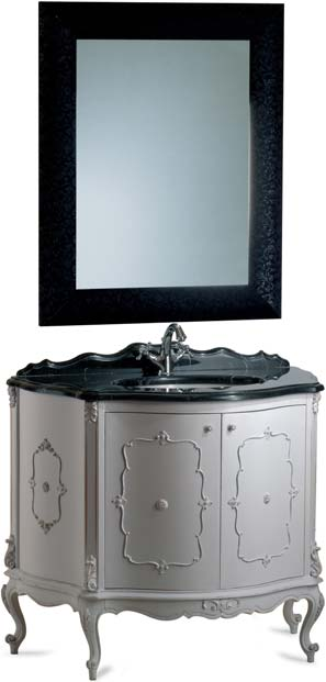 wood with hand-carved details, white decapè finish. Vanity top in black Carrara marble cm.