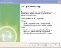 "finestra ""Set Up a Partnership"", selezionare NO e poi"