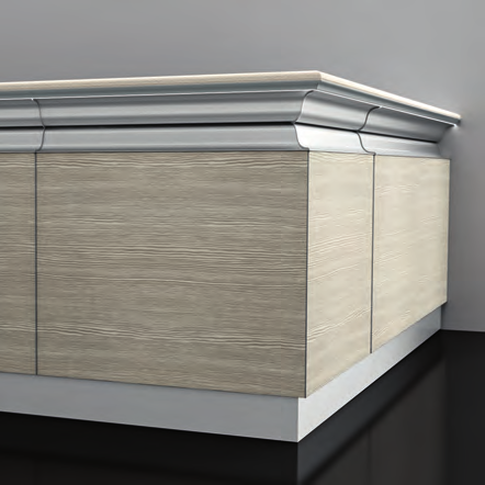 Front decoration in scale beige fantasia laminate. Bar counter top and bullnose in CQ10Blasa composite stone.
