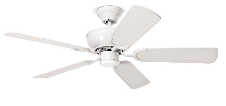 7140 B Ventilatore metallo finitura bianco, 5 pale. Metal white ceiling fan, 5 blades. Ø 130 x H. 52 cm 65 W 220240V 50Hz Max 185 3 146,5 m 3 12 Ø 105 x H.