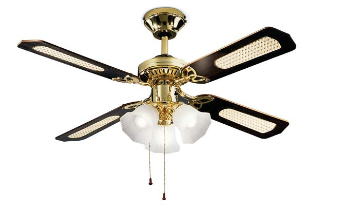 Metal polished brass ceiling fan, 4 blades with glass light kit 3xE27 max 60W. Ø 105 x H.