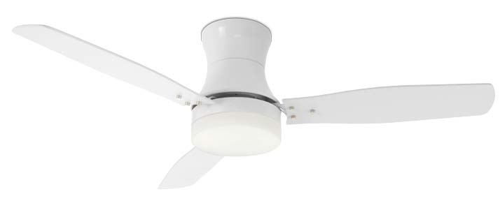 Metal white ceiling fan, 3 blades with glass light kit 2xE27 max 40W. infrared remote control included. ART.