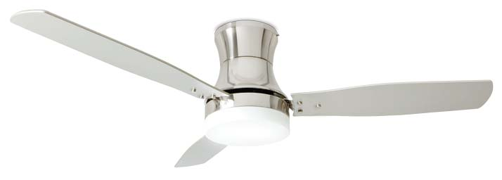 Metal white ceiling fan, 3 blades with glass light kit 2xE27 max 20W. Radio remote control included. Ø 130 x H.