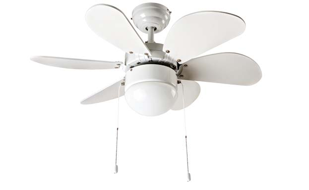 Telecomando a onde radio incluso. Metal polished chrome ceiling fan, 3 blades with glass light kit 1xE27 max 60W. Radio remote control included. Ø 76 x H.
