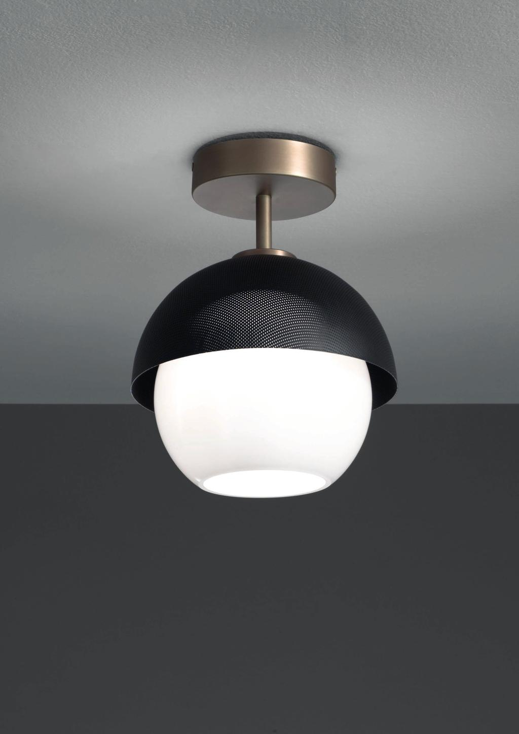 URBAN CEILING 25cm-9 8 Ø 20cm-7 8 Ceiling lamp with diffuse light and white, tobacco or smoke Murano blown glass diffuser.