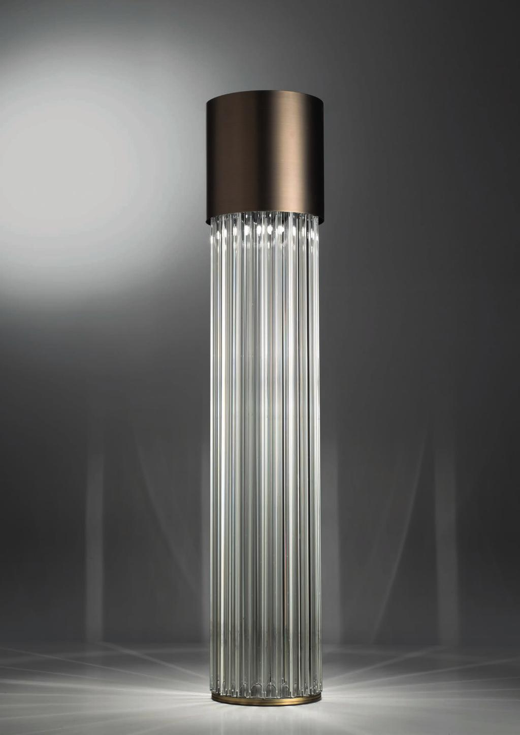 CHIC FLOOR 130cm-51 Ø 29cm-11 Floor lamp with diffuse light. Dark bronze striped structure with crystal, amber or smoke trihedrons.