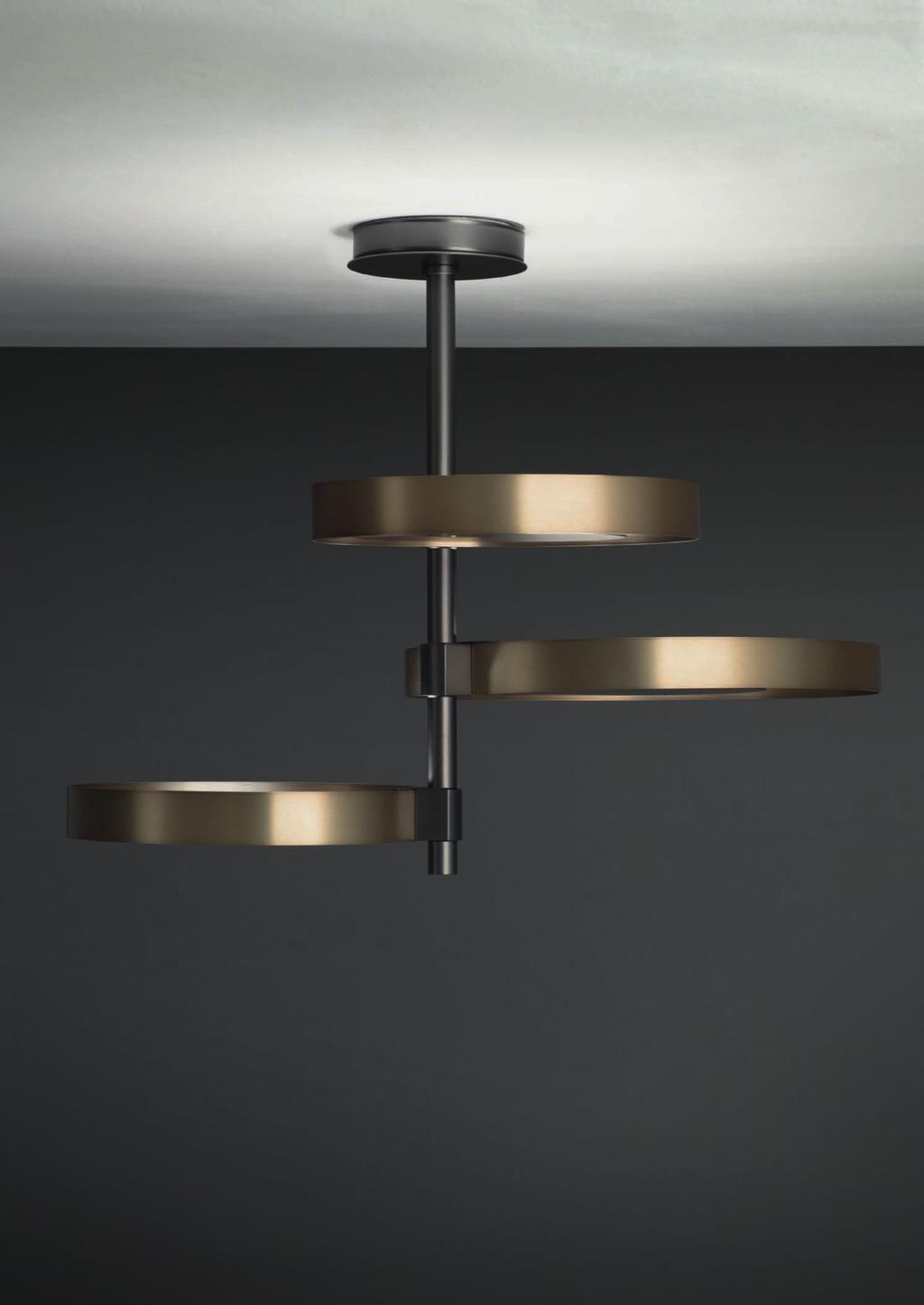CIRCLE CEILING 45cm-17 7 Ø 58cm-22 8 Ceiling lamp with indirect light, satinated natural brass rings and matte black nickel central
