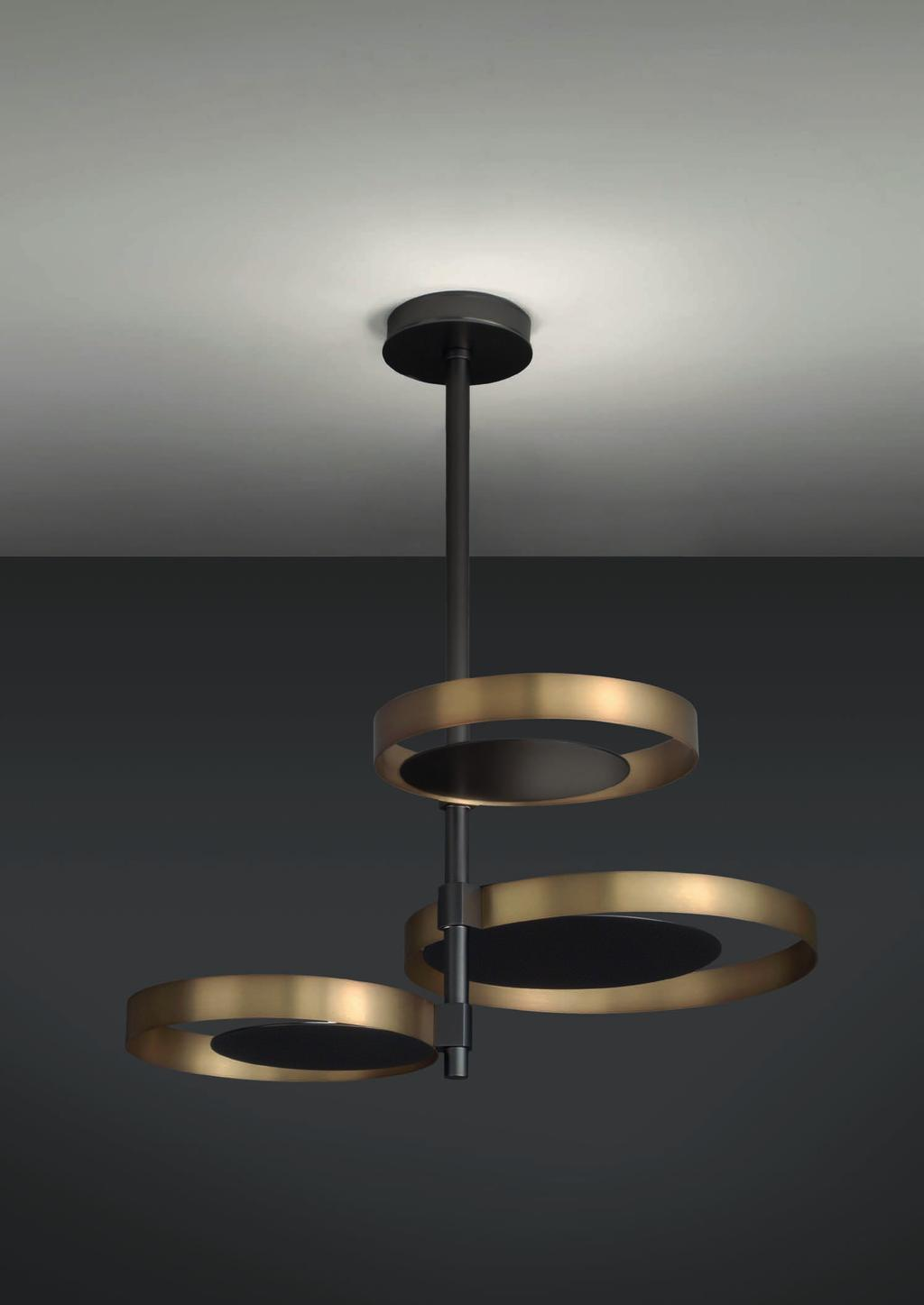 CIRCLE SUSPENSION 90cm-35 4 Ø 58cm-22 8 Suspended lamp with indirect light, satinated natural brass rings and matte black nickel central
