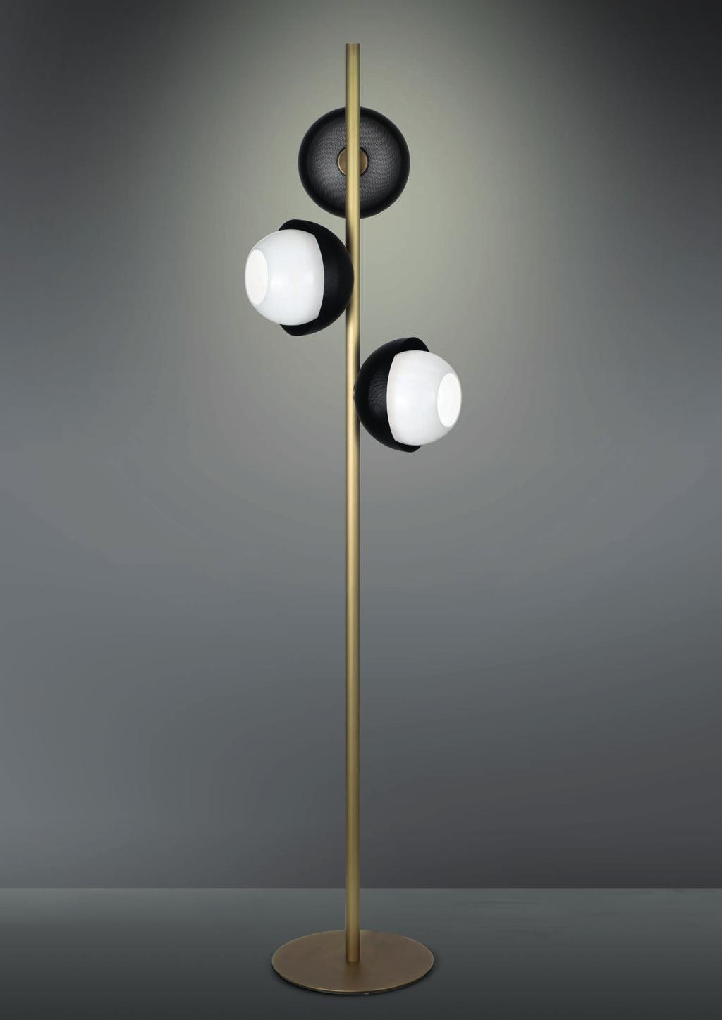 URBAN FLOOR 164cm-64 5 Ø 38cm-15 Floor lamp with diffuse light and white, tobacco or smoke Murano blown glass diffusers.