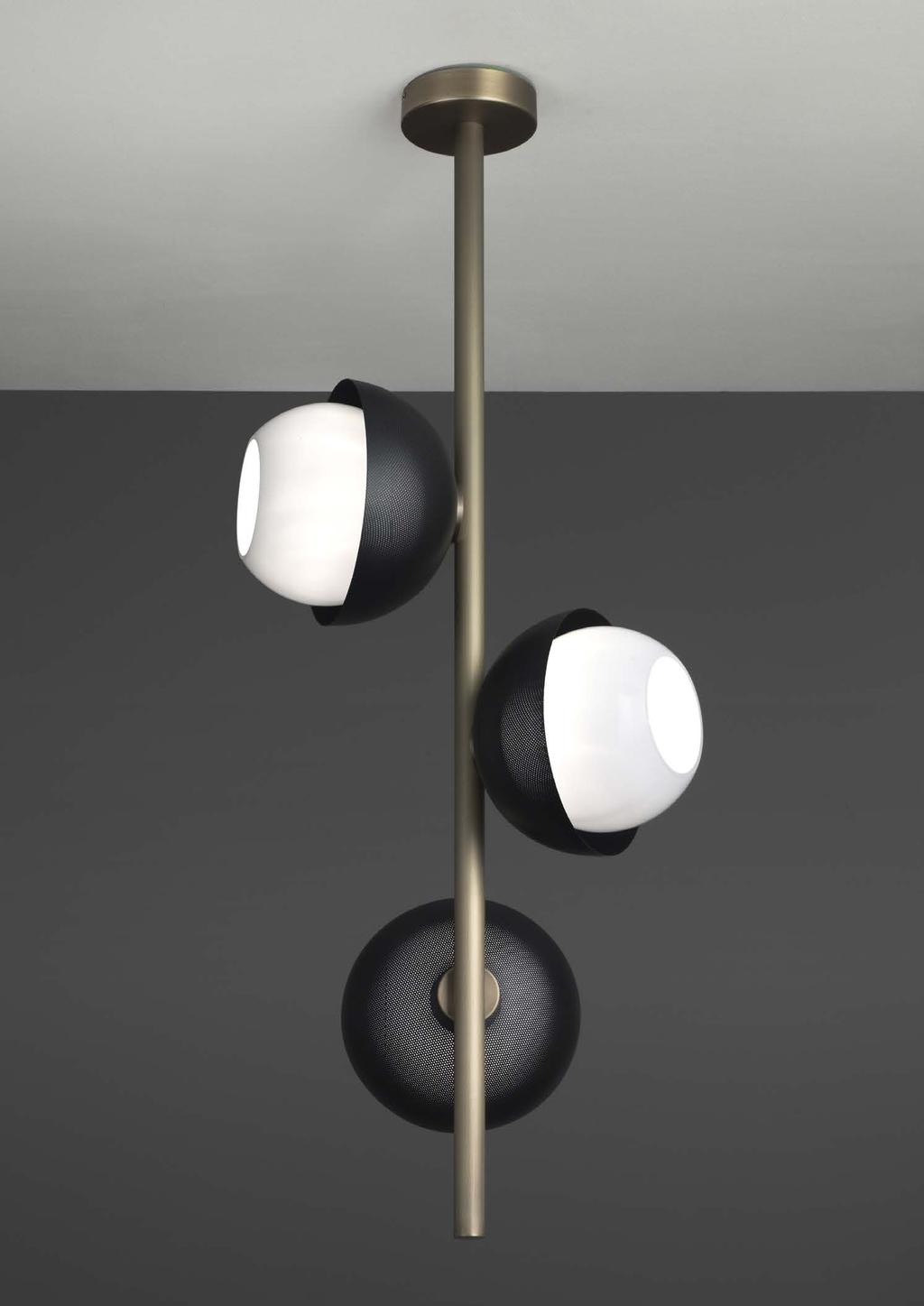URBAN SUSPENSION 3 96cm-37 8 Ø 38cm-15 Suspended lamp with diffuse light and white, tobacco or smoke Murano blown glass diffusers.