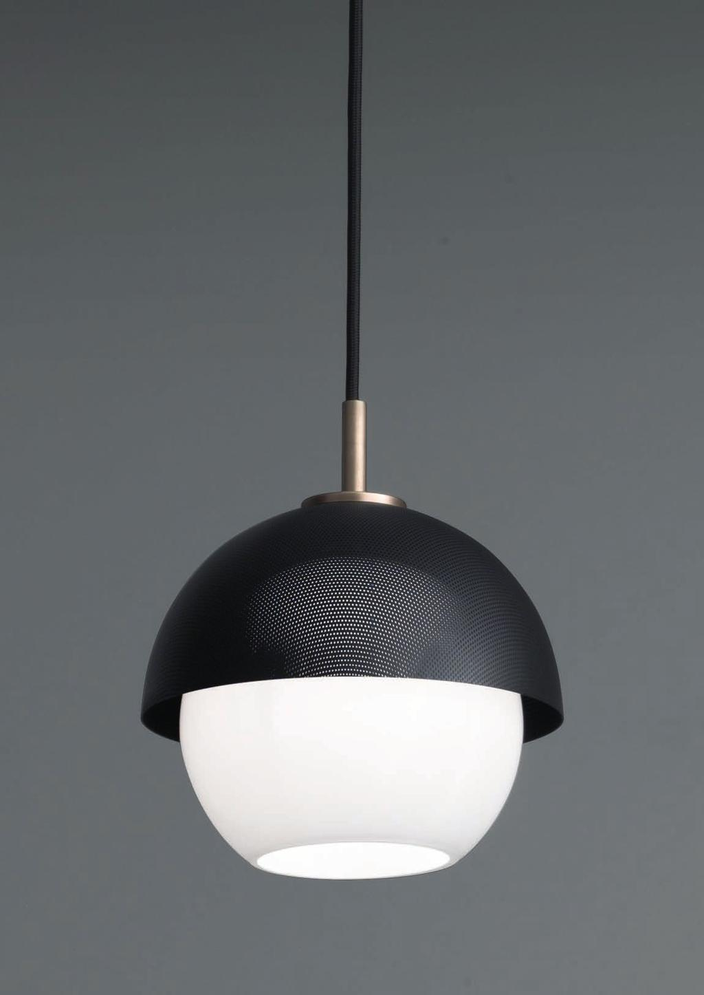 URBAN SUSPENSION 1 50cm-19 Ø 20cm-7 8 Suspended lamp with diffuse light and white, tobacco or smoke Murano blown glass diffuser.