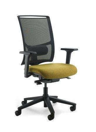 synchro mechanism, nylon 2D adjustable armrests La versione operativa propone le stesse