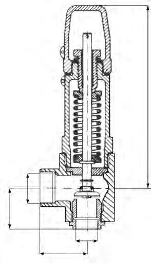 Sez. Pag. 4 VIA VAVOE VAVOE DI SICUREZZA SAFETY VAVE fig. 304 Valvole di sicurezza a molla ad angolo retto attacchi filettati GAS Safety valves spring type angle pattern threaded ends fig.